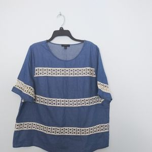 Lane Bryant Denim Blue Cotton blouse lace stripe